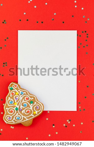 Creative New Year or Christmas greetings letter mockup flat lay top view Xmas holiday celebration envelope on red paper background golden glitter. Template mock up greeting card text design 2020 #1482949067
