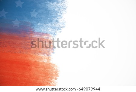 Creative paint-brush stokes. USA flag on white background. Patriotism concept #649079944