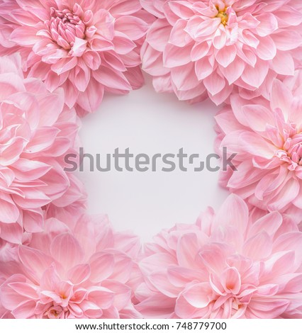 Creative pastel pink flowers frame, top view. Layout  or greeting card for Mothers day, wedding or happy event #748779700