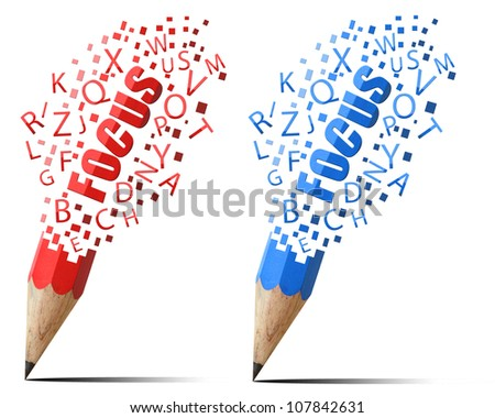 creative pencil red and blue focus alphabet icons isolate on white background