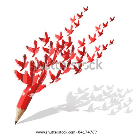 creative pencil with birds image isolate on white
