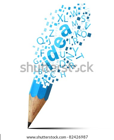 creative pencil with  blue idea isolate on white