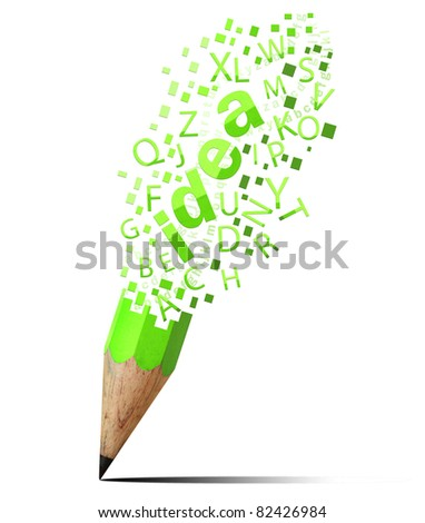 creative pencil with  green idea isolate on white