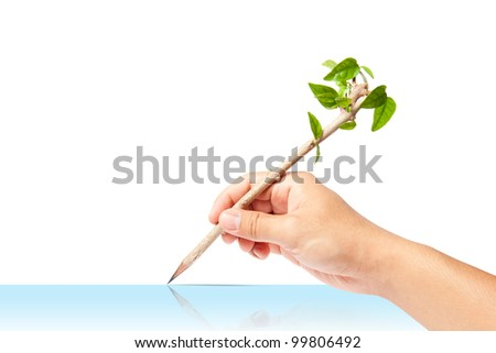 creative pencil with green tree on white backgorund