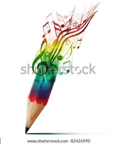 creative pencil with  music notes isolate on white
