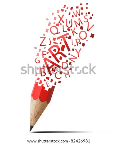 creative pencil with red art isolate on white
