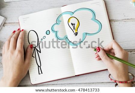 Creative Person Light Bulb Graphic Concept #478413733