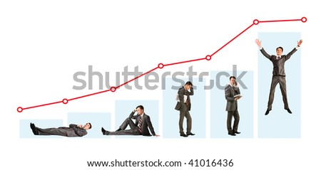 Creative photo of businessman in different moods under graph