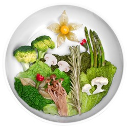 creative picture of the landscape of food vegetables concept, balance diet