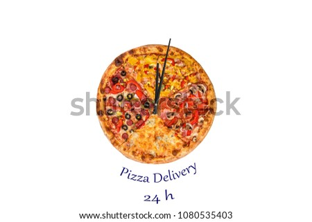 Creative pizza picture in the form of a clock with arrows on a beautiful bright background. delivery 24 hours inscription. Concept
