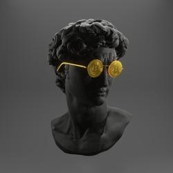 Creative. Plaster statue of David's head in bitcoinglasses. Minimal concept art. 3d render.