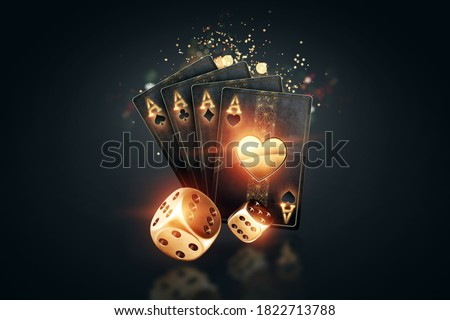 Creative poker template, background design with golden playing cards and poker chips on a dark background. Casino concept, gambling, header for the site. Copy space, 3D illustration, 3D render ストックフォト ©