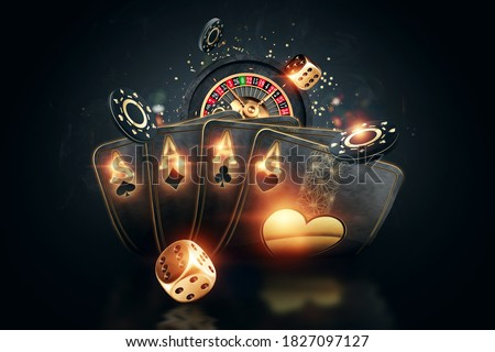 Creative poker template, background design with golden playing cards and poker chips on a dark background. Casino concept, gambling, header for the site. Copy space, 3D illustration, 3D render