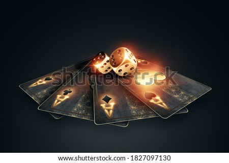 Creative poker template, background design with golden playing cards and poker chips on a dark background. Casino concept, gambling, header for the site. Copy space, 3D illustration, 3D render Zdjęcia stock ©
