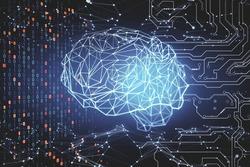 Creative polygonal brain on virtual screen. AI and success concept. 3D Rendering