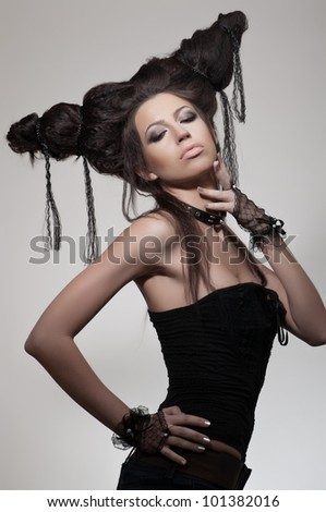 Creative portrait of woman with hairstyle