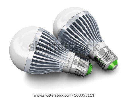 Creative power saving and energy conservation industry business ecological concept: group of two metal LED electric lamps isolated on white background