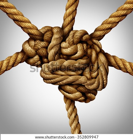 Creative process concept and creativity and the brain as a group of tangled ropes shaped as the human mind with strands of rope emerging out as an intelligence connection icon and neurology symbol .