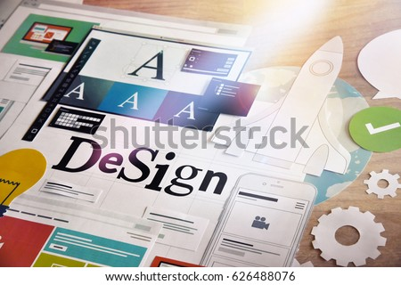 Creative process. Concept for different categories of design, graphic and web design, logo, stationary and product design, company identity, branding, marketing material, mobile app, social media. - Shutterstock ID 626488076