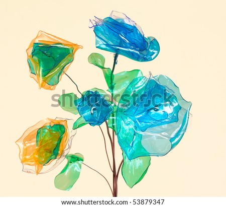 creative recycling - flowers made from scraps of plastic bottles