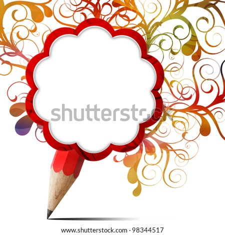 creative red pencil blank paper icon with colorful floral isolated on white