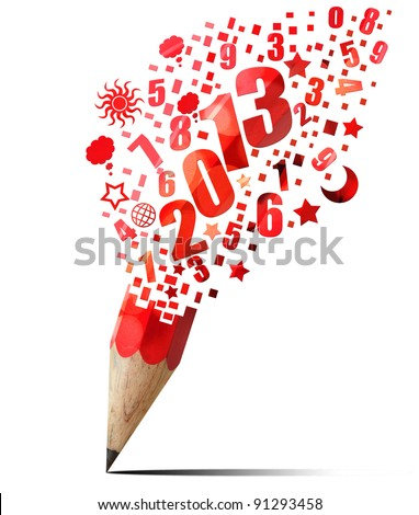 creative red pencil 2013 year isolated on white
