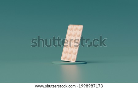 Creative relaxation composition. Trendy popular silicone colorful anti stress pop-it toy on a pedestal in pastel greens background, the toy itself is milky. Someone push sensory popit. 3D Rendering Stock foto ©