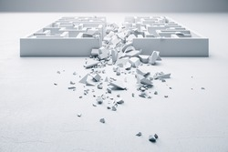 Creative ruined white labyrinth. Challenge and risk concept. 3D Rendering