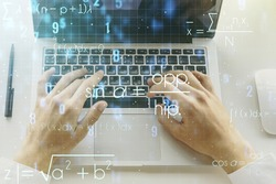 Creative scientific formula illustration with hands typing on computer keyboard on background, science and research concept. Multiexposure