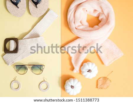 Creative season layout of summer, spring, autumn and winter leaves and flowers. Christmas fir tree, summer sunglasses, spring flowers,autumn golden pumpkin.four colors.Seasonal concept. Flat lay