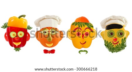 Creative set of food concept. A few  funny portraits from vegetables and fruits.