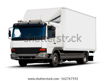Creative shipping industry, logistics transportation and cargo freight transport industrial business commercial concept: white delivery truck or container auto car trailer isolated on white background