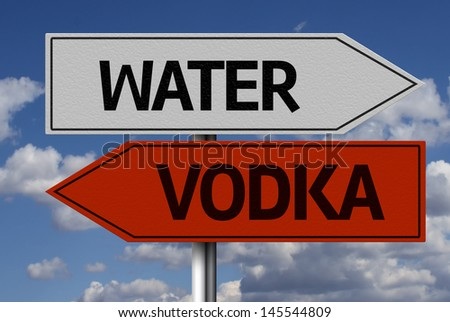 Creative sign with the message - Water, Vodka