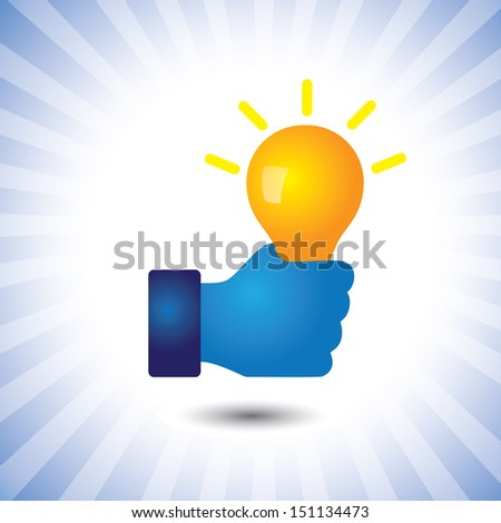creative, smart & intelligent person with idea(bulb)- graphic. The illustration can also represent concept of clever person with ability to solve problems, genius with bag of business ideas  - stock photo