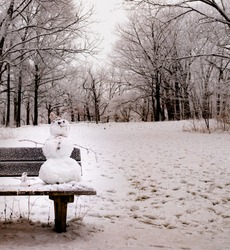 Creative snowman sculptured in the woods with all natural accessories from the woods