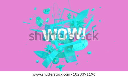 Creative social media greeting card with WOW word, high resolution 3D render