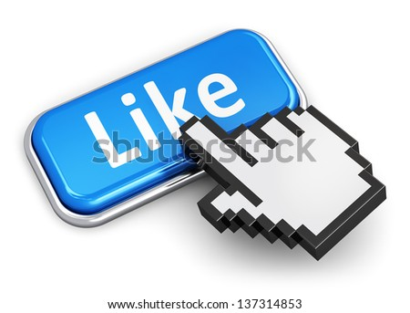 Creative social media network, internet and web communication concept: hand link selection computer mouse cursor pressing blue metal glossy button with Like text isolated on white background