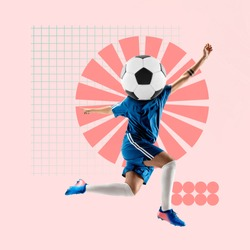 Creative sport and geometric style. Football, soccer player in action, motion on pink background. Negative space to insert your text or ad. Modern design. Contemporary colorful and bright art collage.