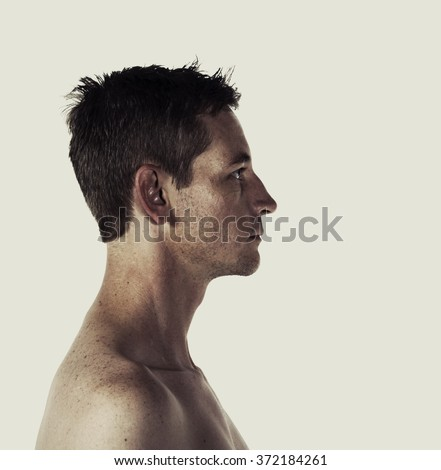Creative style portrait profile of a man #372184261
