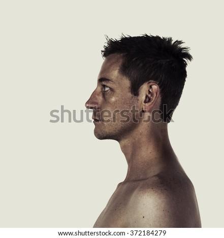 Creative style portrait profile of a man #372184279