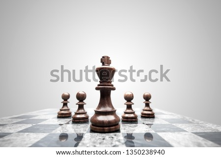 Creative success business concept meaningful photo of squad of 5 chess pieces figures leaded by the king on checkerboard. #1350238940