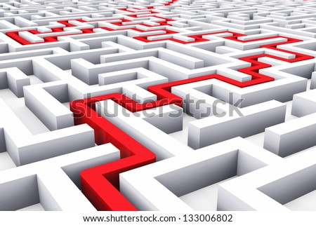 Creative success marketing strategy and motivation concept red path across endless white labyrinth