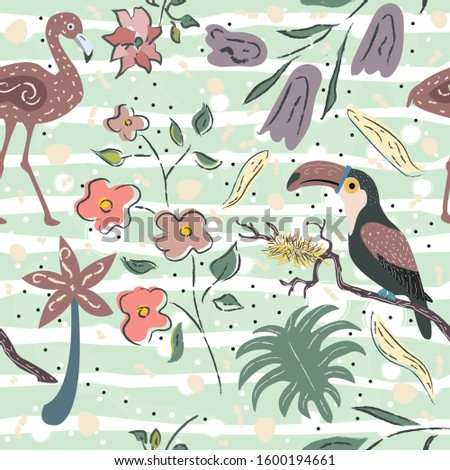 Creative Summer Pattern with exotic birds on background with exotic plants, palm and flowers.