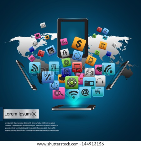 Creative tablet computer with mobile phones cloud of colorful application icon, Business software and social media networking