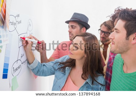 Creative team watching colleague add to flowchart on whiteboard with colour samples