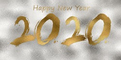 Creative text Happy New Year 2020 written greeting text with golden on silver gray background, 2020 New Year Planning Concept, Golden text 2020 New Year, luxurious gold text exposed on silver abstract