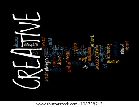 Creative Thinking info-text graphics and arrangement concept on black background - stock photo