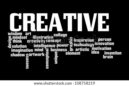 Creative Thinking info-text graphics and arrangement concept on black background
