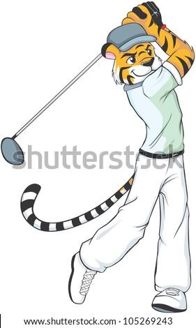 Creative Tiger Golf Illustration as a professional golfer