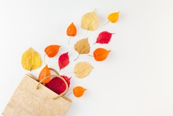 Creative Top view flat lay autumn composition Shopping bag dried orange flowers leaves background copy space Template sale mockup fall harvest thanksgiving halloween promotion flyers